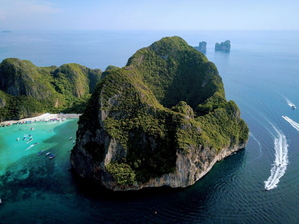 Aerial view of Maya Bay