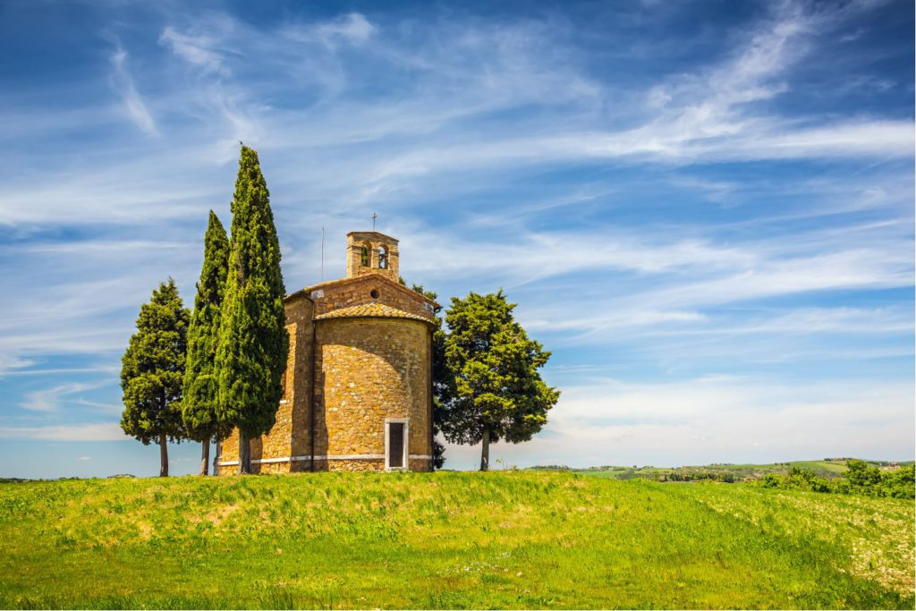 Beautiful landscape with a chapel in Tuscany, Italy