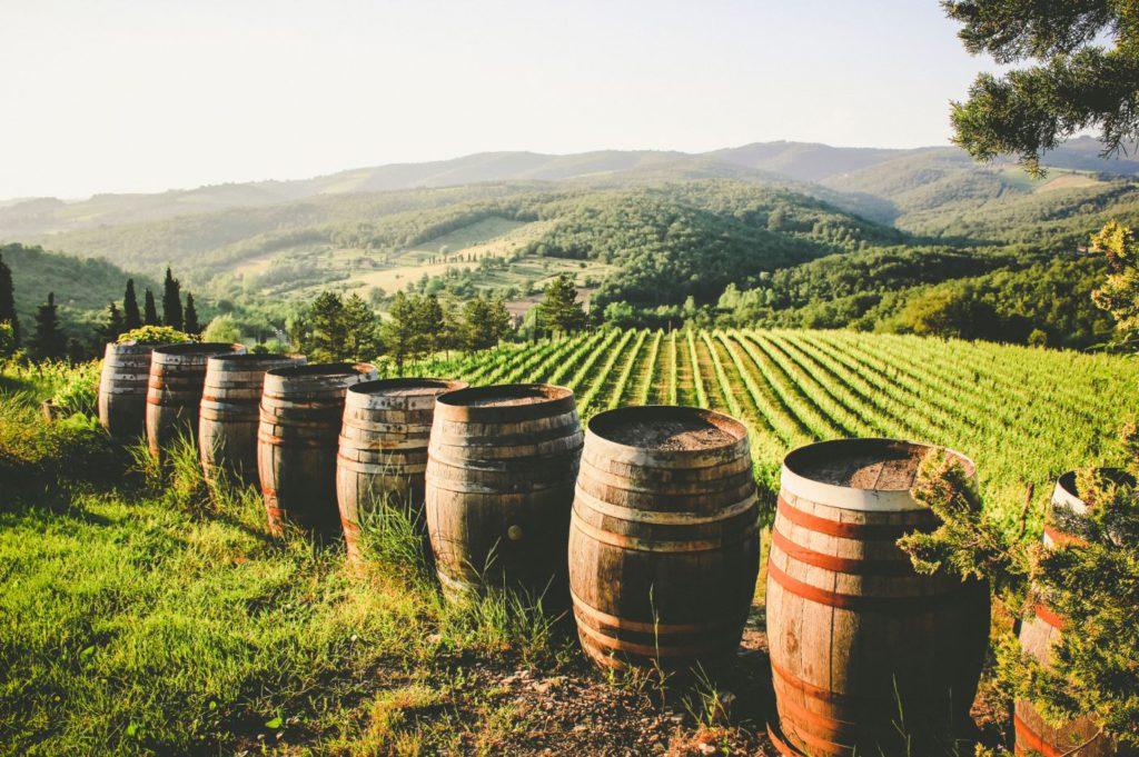 Wine barrels at a vineyard in Radda in Chianti, Italy
