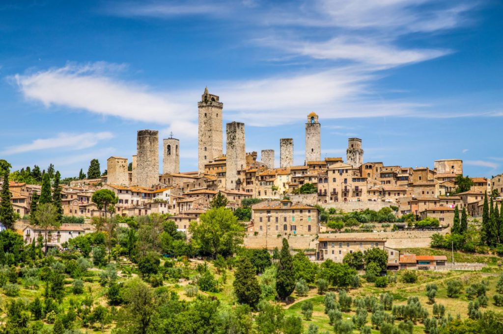 Beautiful view of the medieval town of San Gimignano, Tuscany, Italy.
