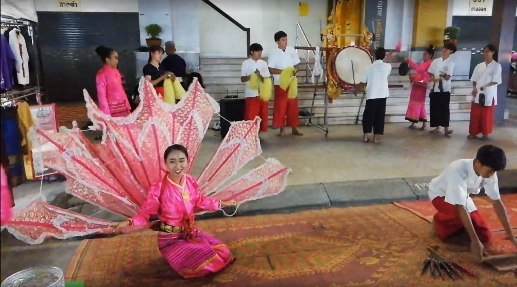 Traditional dance performed by locals at Chiang Rai walking street