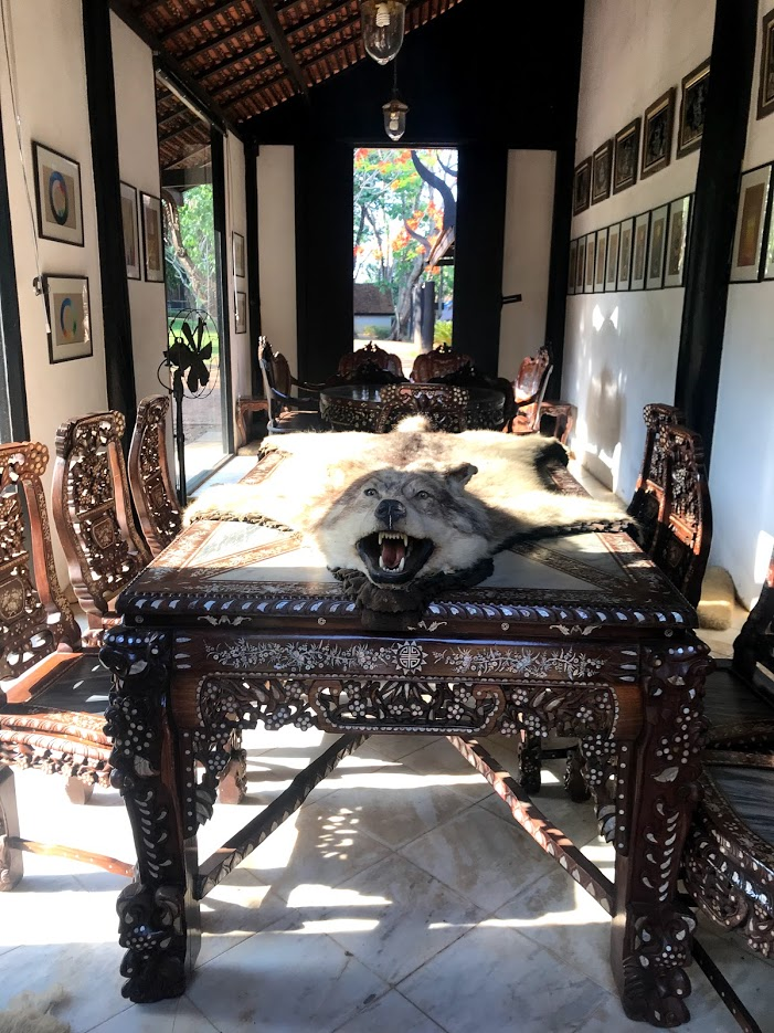 Real wolf carcass in the dining area of Baan Dam