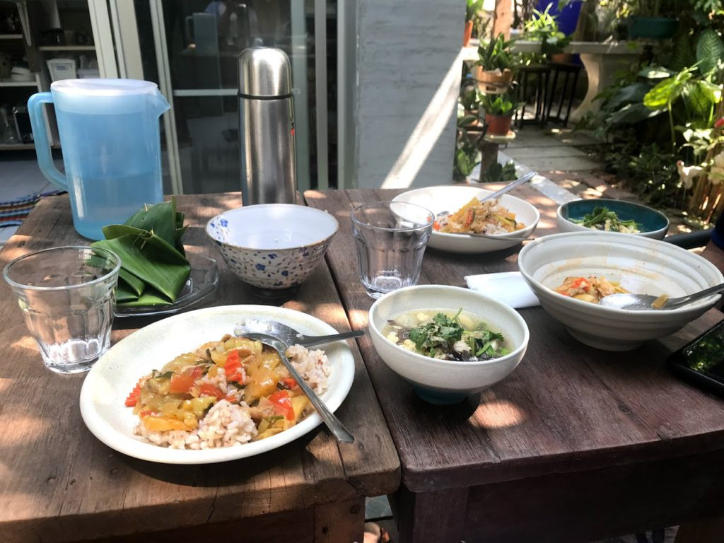 Breakfast at Airbnb – Rice, vegetables, soup and dessert