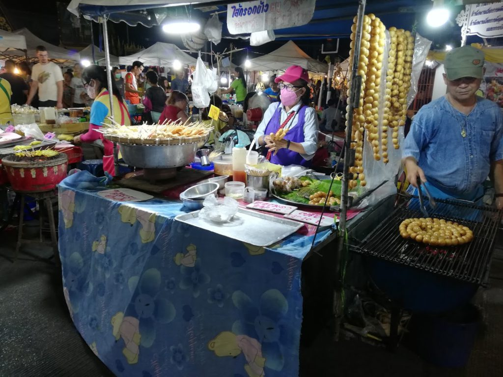 Food stalls at Chiang Rai night market