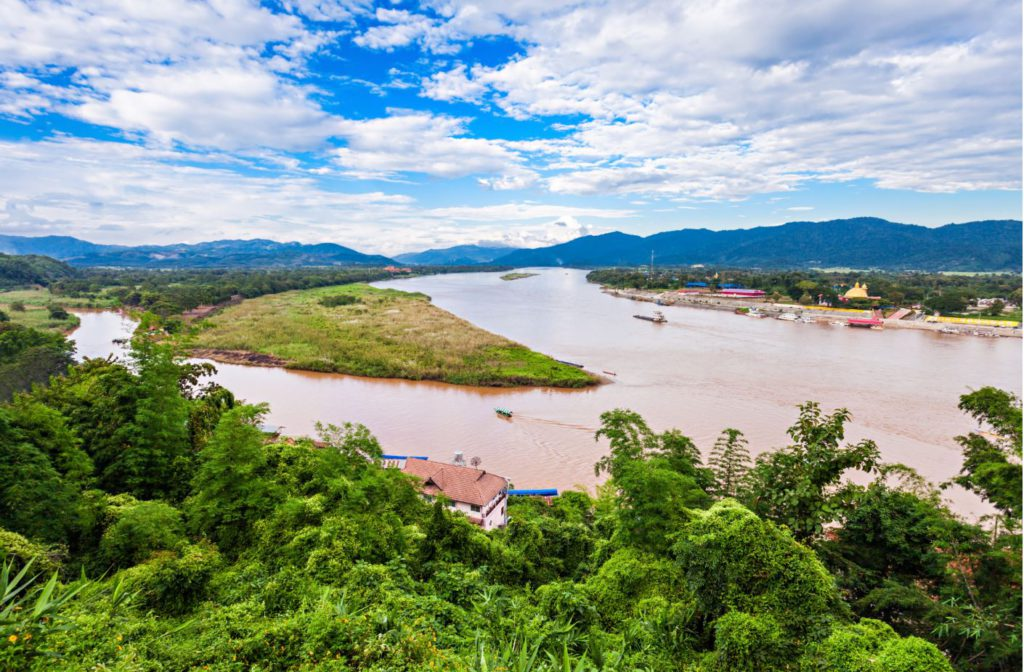A view of the border separating Myanmar, Thailand and Laos
