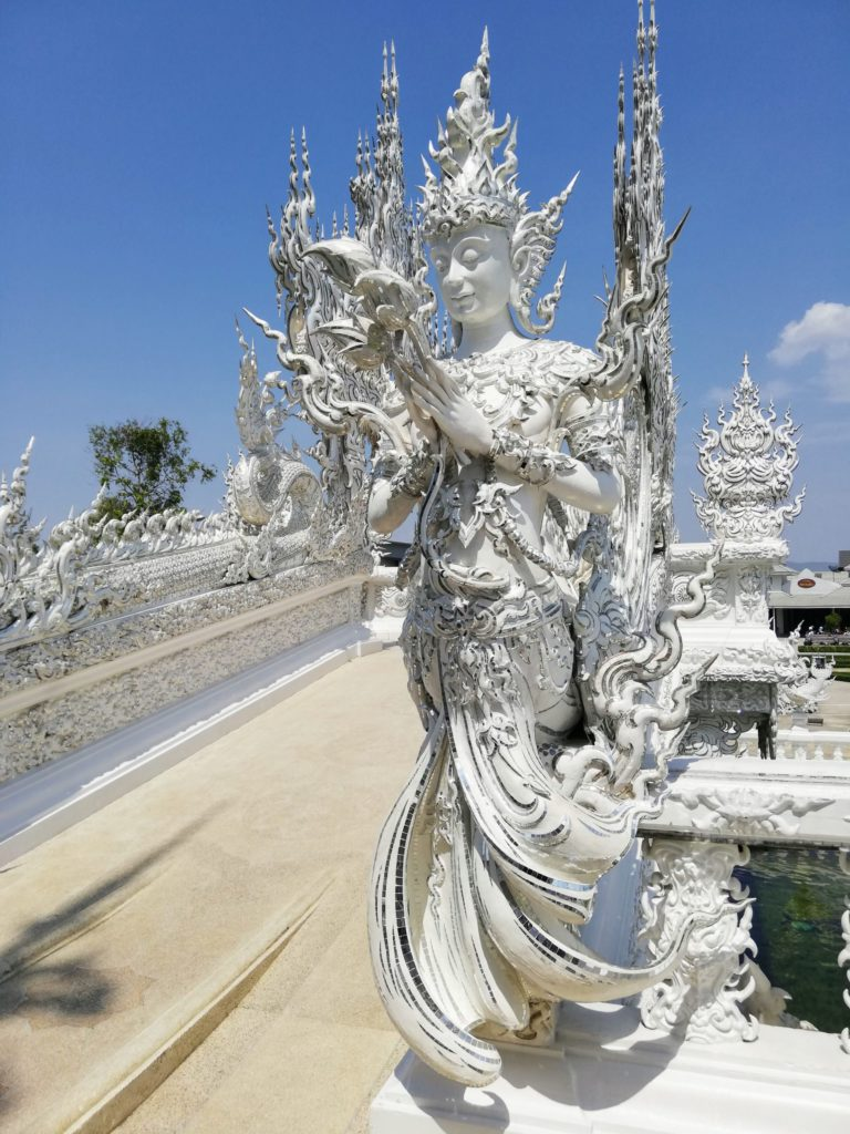 beautiful sculptures in White temple, Chiang Rai, Thailand