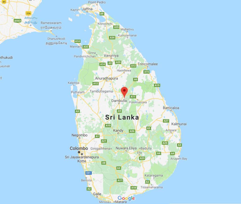 Location of Sigiriya in Sri Lanka