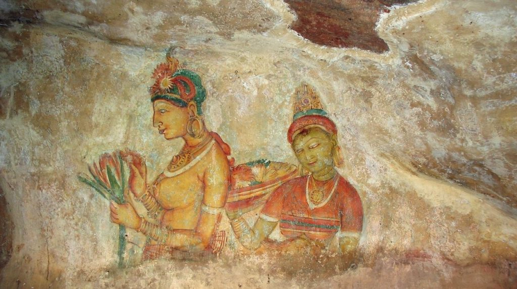 Murals inside the fort of the concubines brought by King Kasyapa I