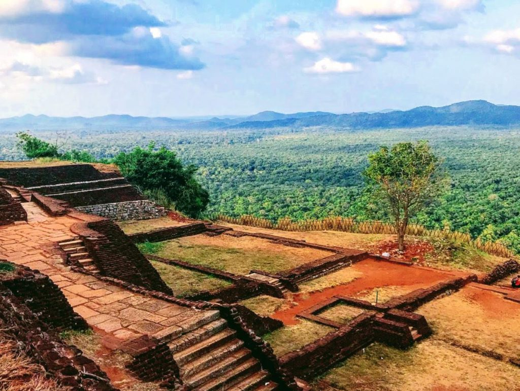 Ruins of the fort on top of Sigiriya Monolithic rock