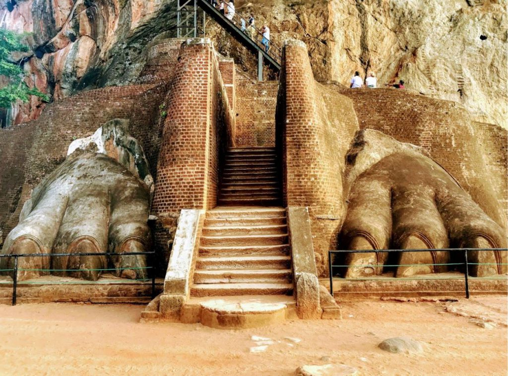 remenants of the Lion statue at the entrance of Sigiriya fort