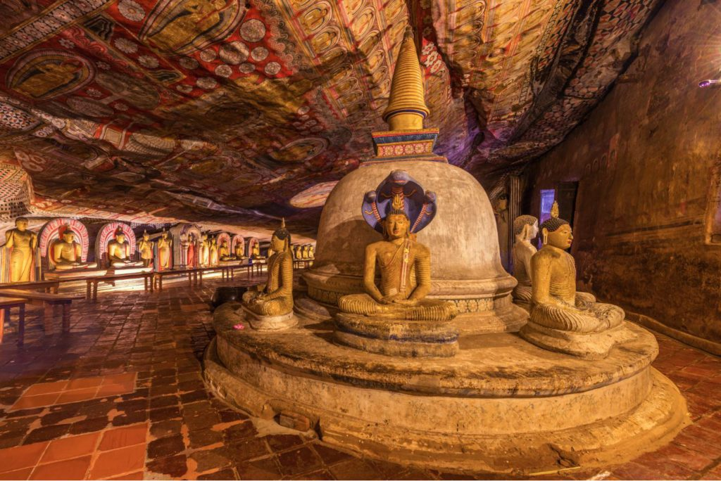 Statues of Gautam Buddha in one of the caves in Dambulla