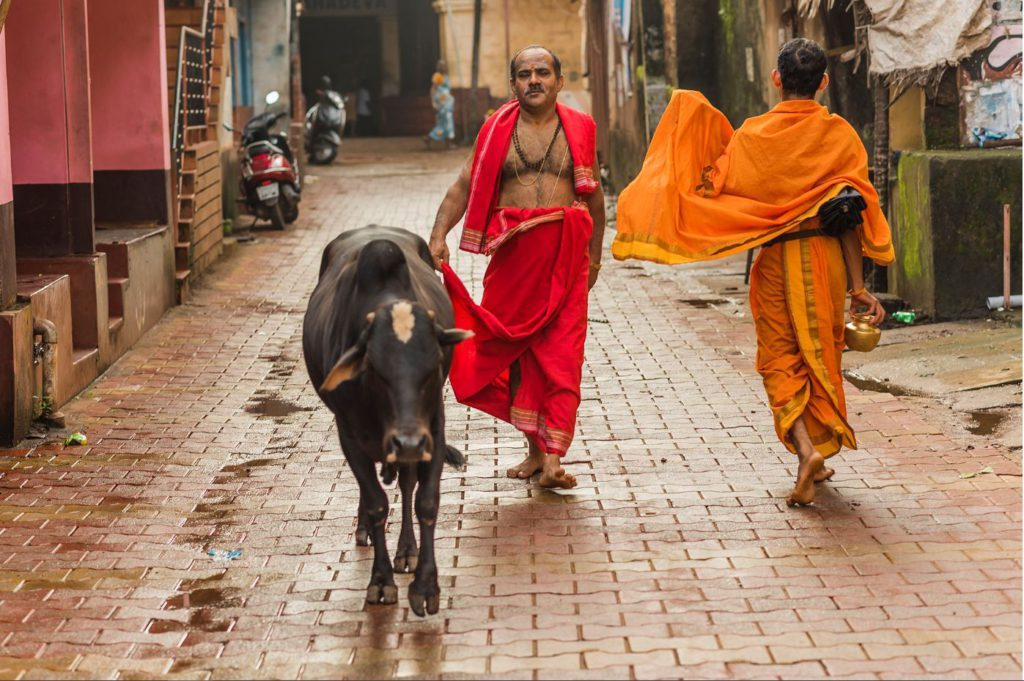 The streets of the town of Gokarna