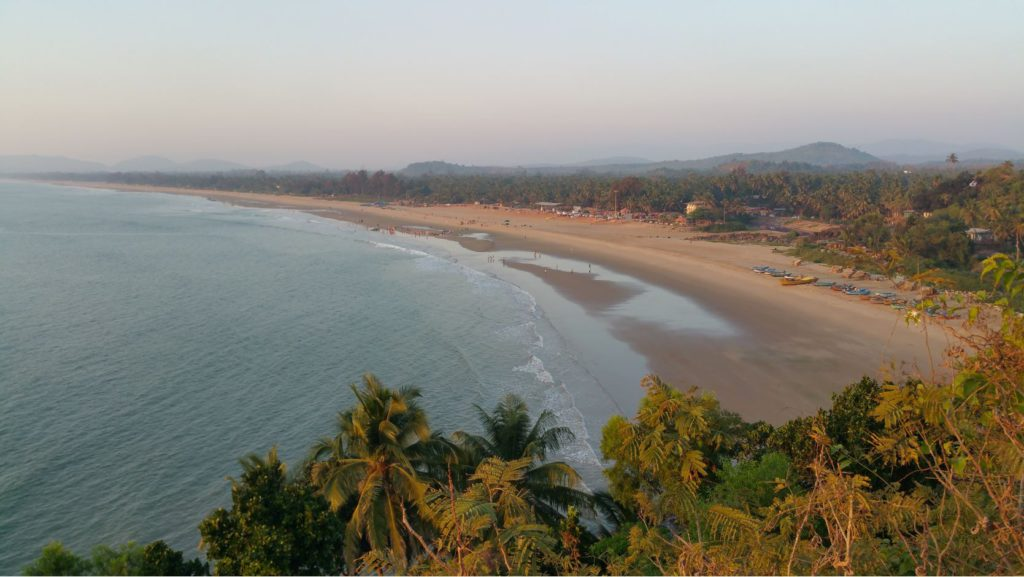 View of Kudle beach from a nearby hill