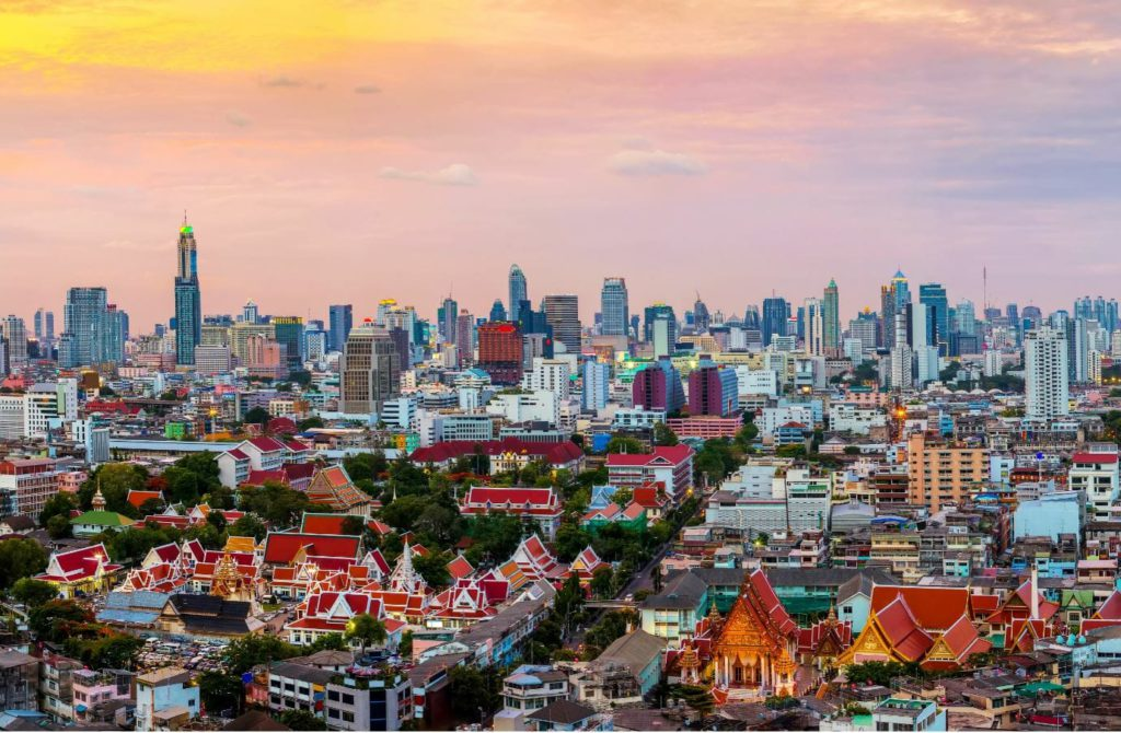 A view of Bangkok's skyline in the evening