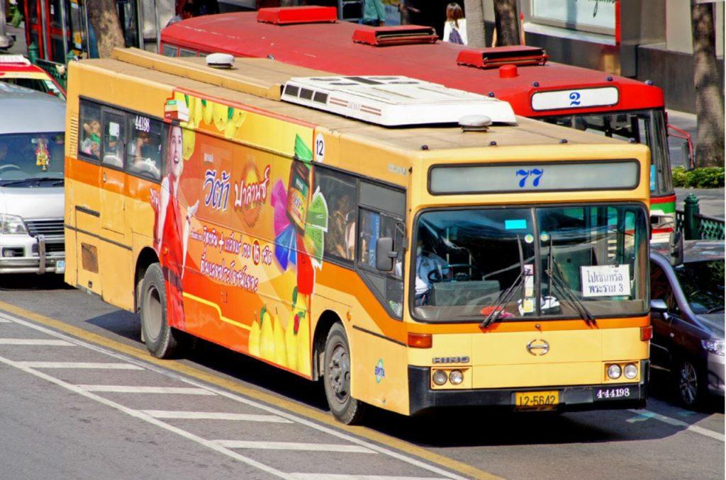 A city bus inside Bangkok city