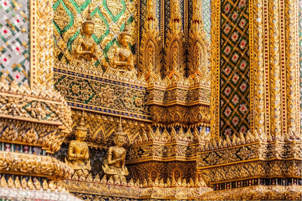 Traditional Thai detailing on buildings inside the Grand Palace premises