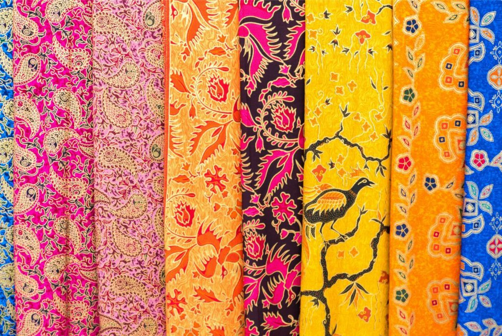 A variety of sarongs in the street markets of Ubud, Bali