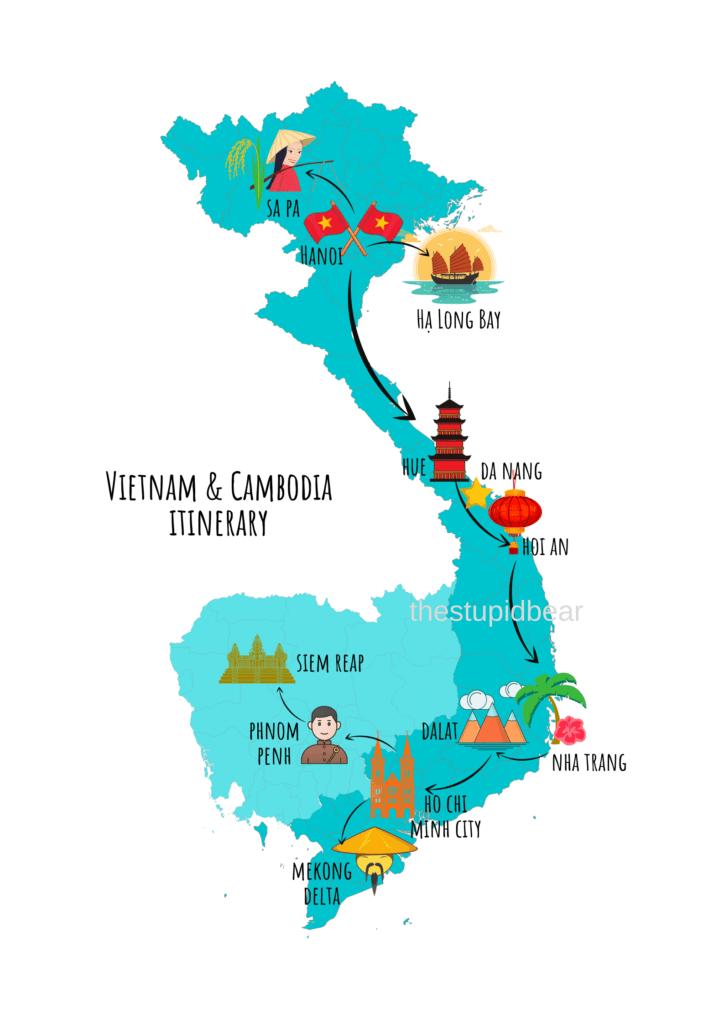 Vietnam and Cambodia travel itinerary