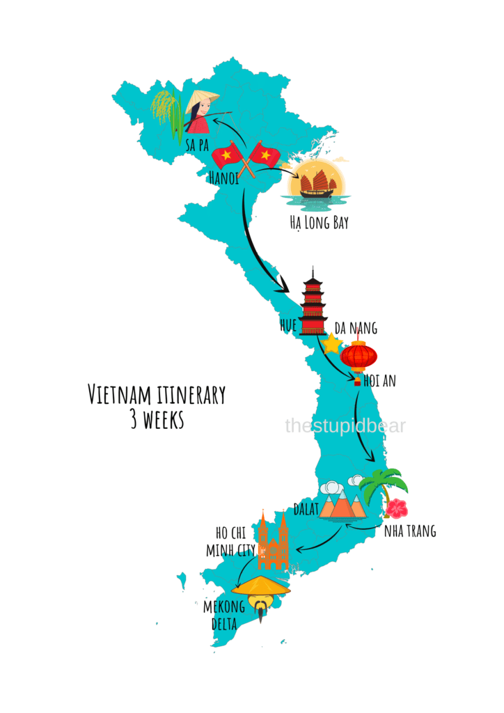 vietnam travel itinerary for 3 weeks