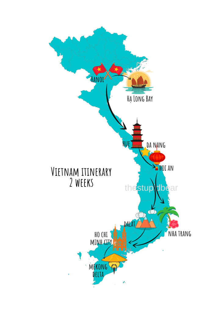 vietnam travel itinerary for 2 weeks