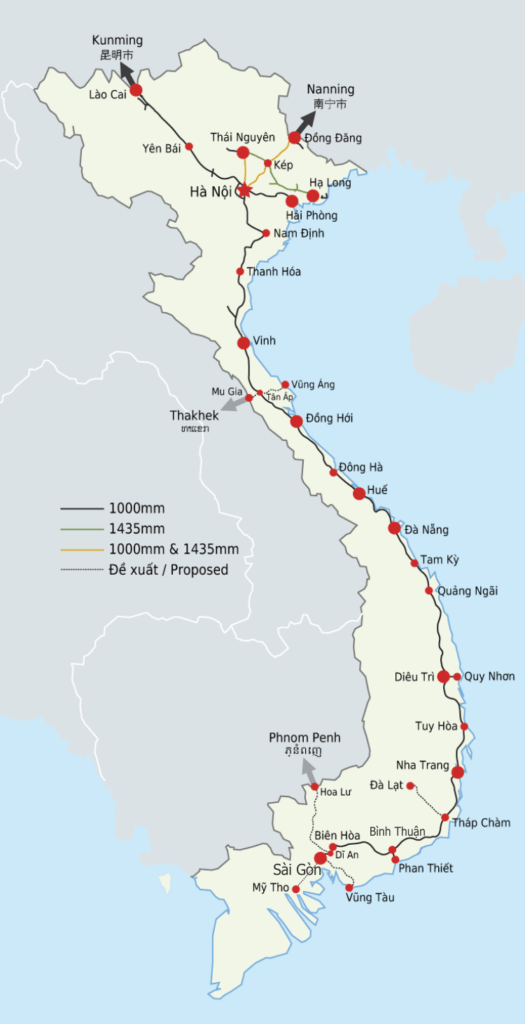 Railway routes of Vietnam