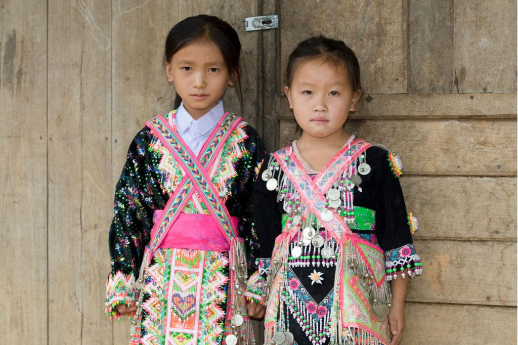 Girls from the Hmong tribe village, Chiang Mai