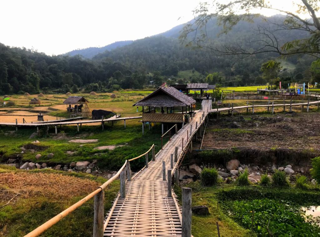 Bamboo bridge and countryside in Pai, Thailand