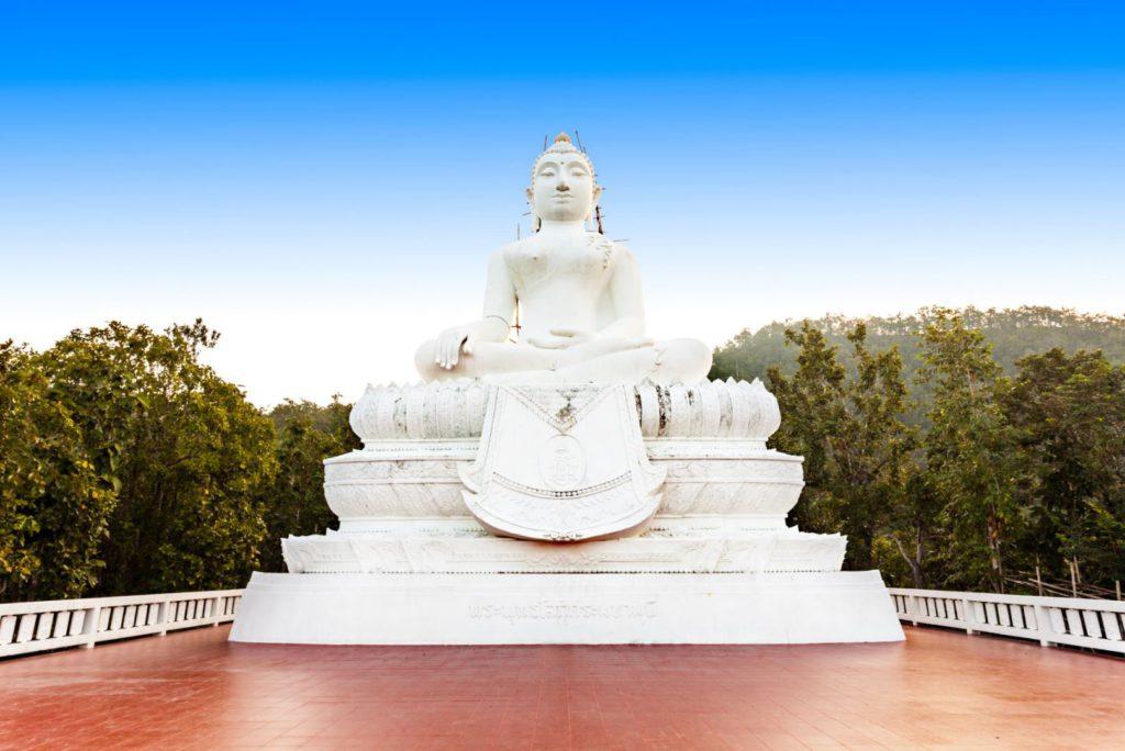 White Buddha Statue at Wat Pra That Mae Yen