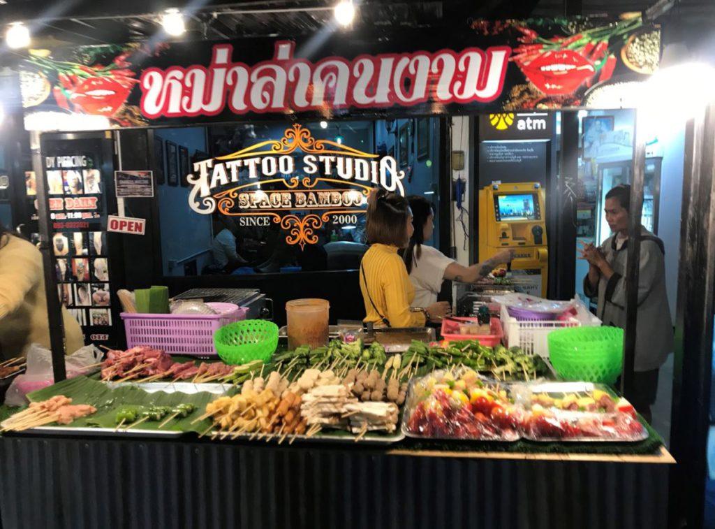 Food stalls at Night market in Pai