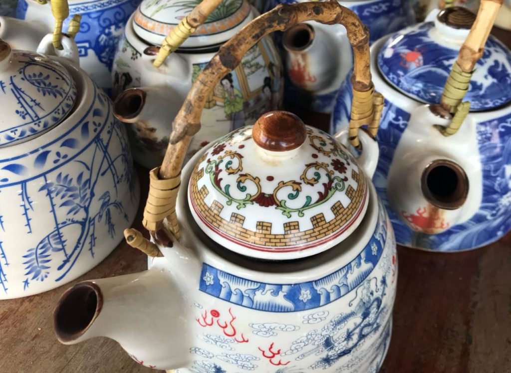 Chinese herbal tea served in teapots at the viewpoint