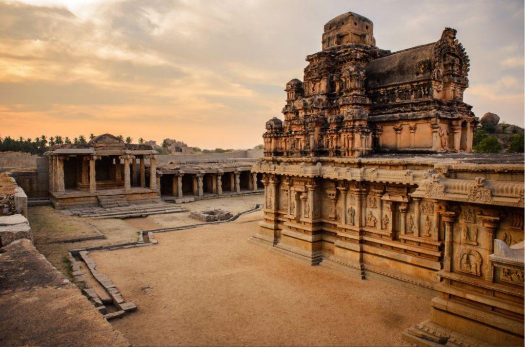 Ancient temple ruins in Hampi, India