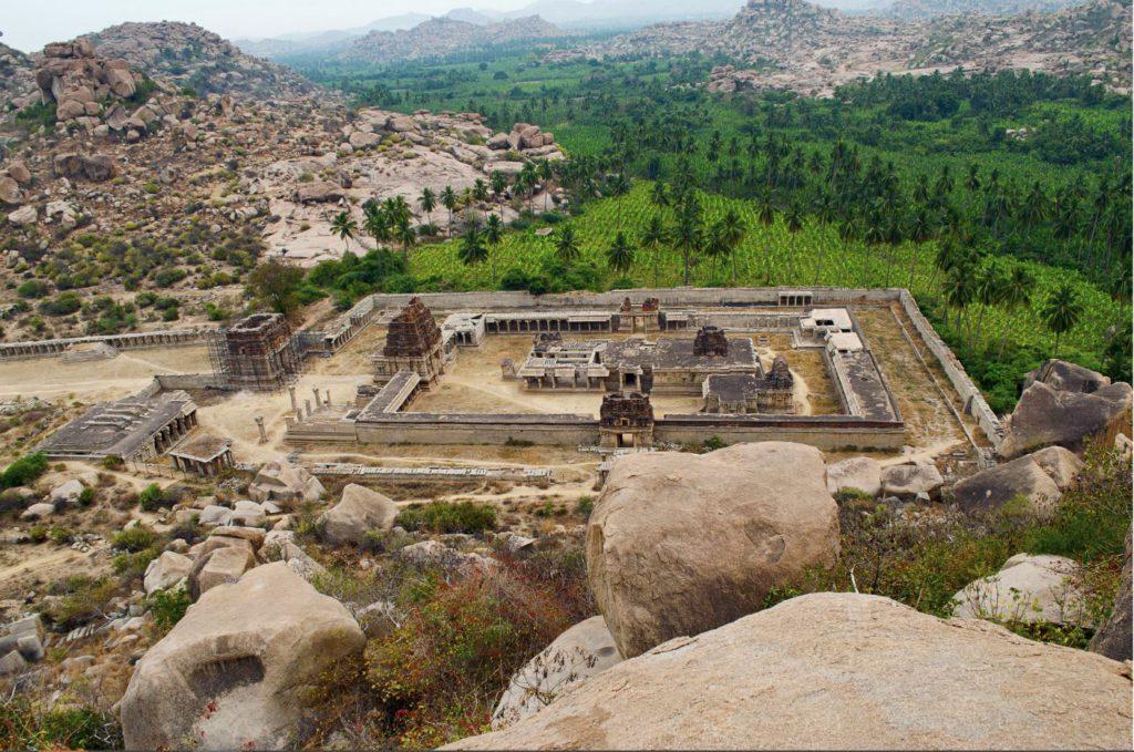 Arial view of Achyuta Raya Temple and Courtesan's street from Matanga Hill