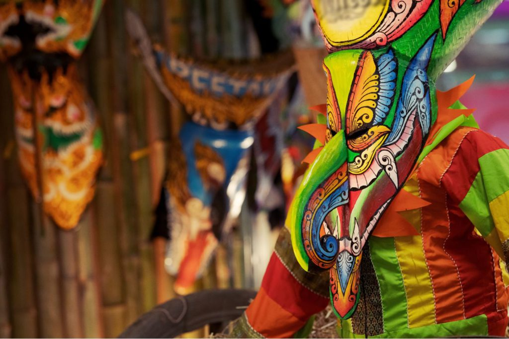 People in Ghost masks in Phi Ta Khon festival