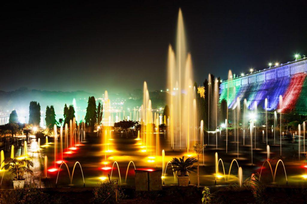 Light Show at night at Brindavan Gardens, day trip to Mysore