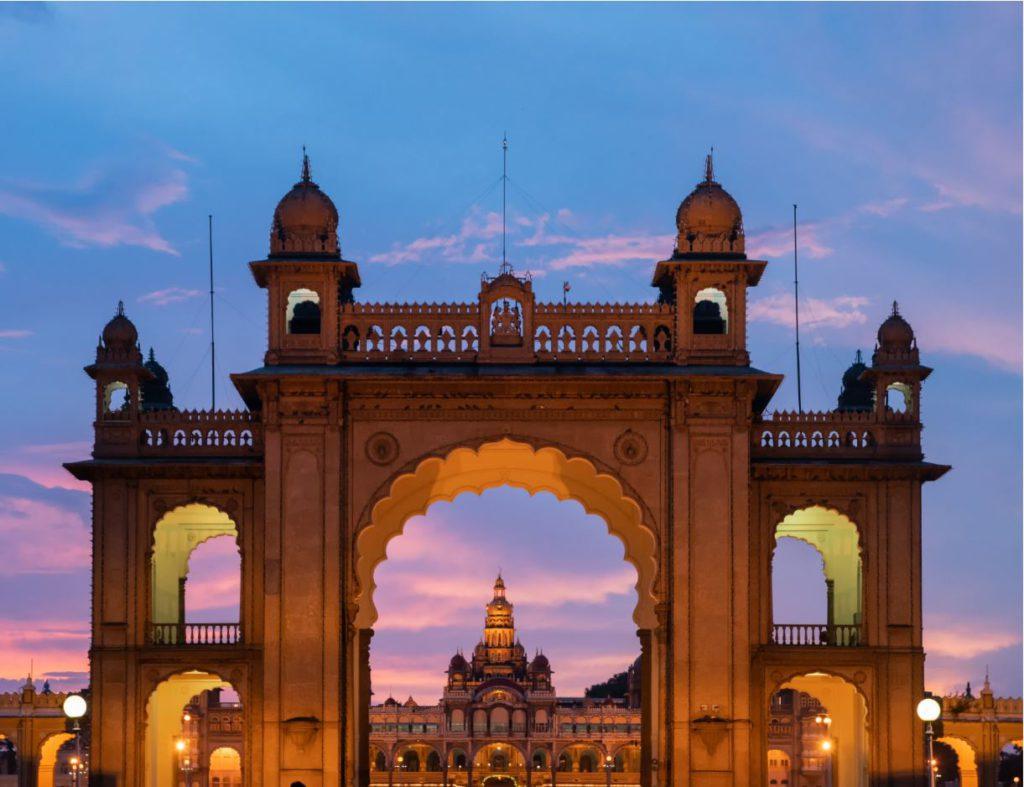 Mysore Palace front gates, day trip to Mysore