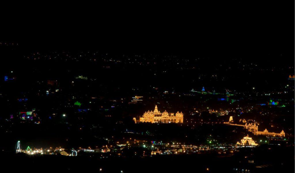 Aerial view of Mysore lit up during Dasara from Chamundi Hills