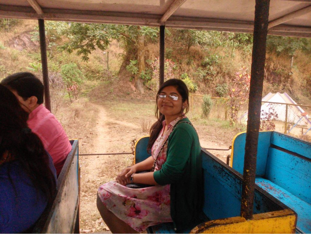Riding in the toy train in Coorg