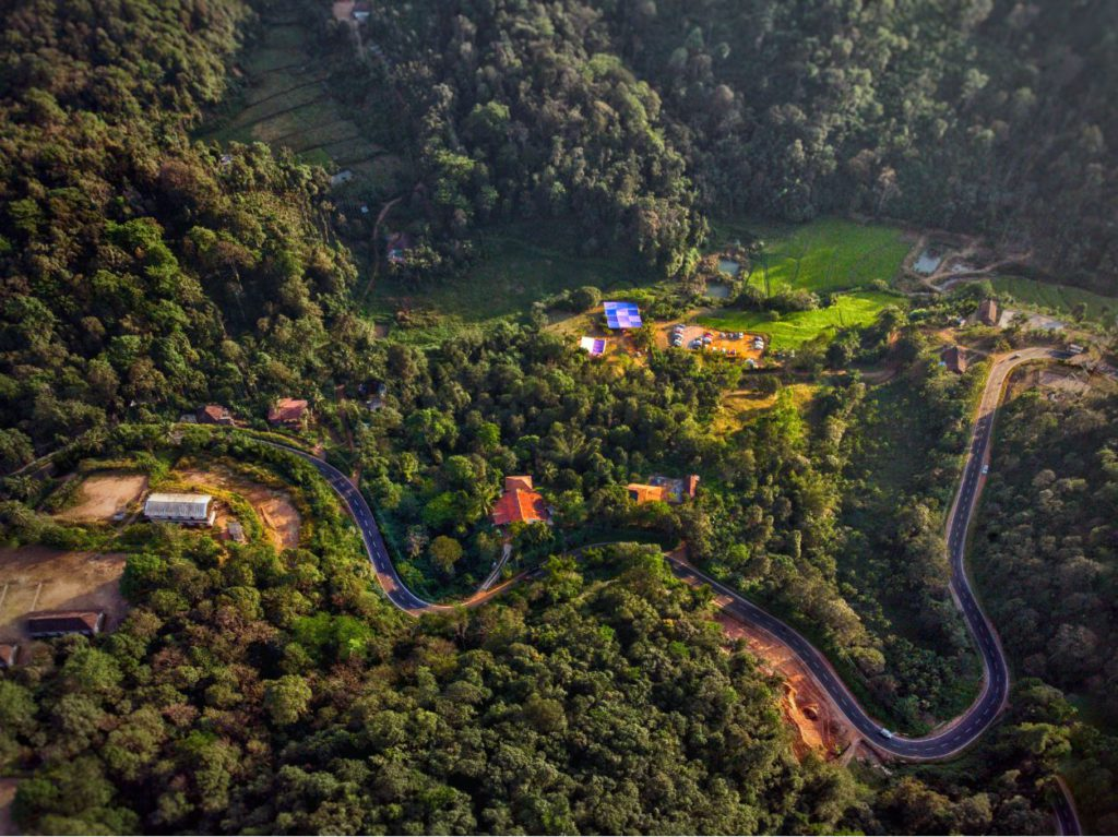 Aerial View of Road to Coorg