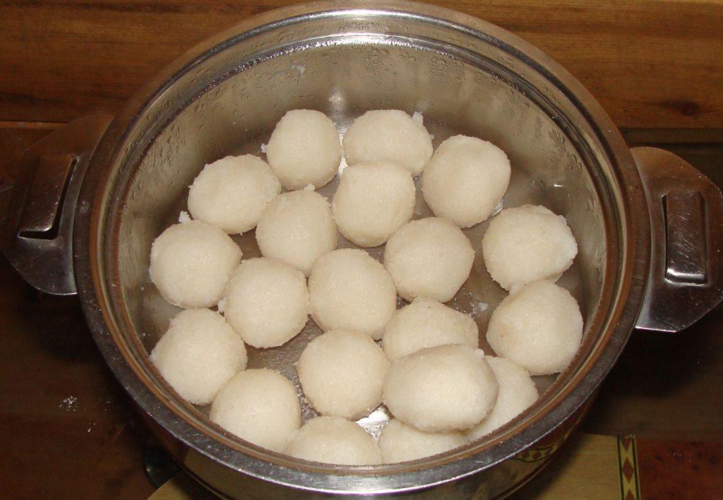 Traditional Coorgi breakfast of rice balls