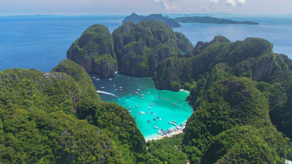 Aerial view of Maya Bay, Thailand
