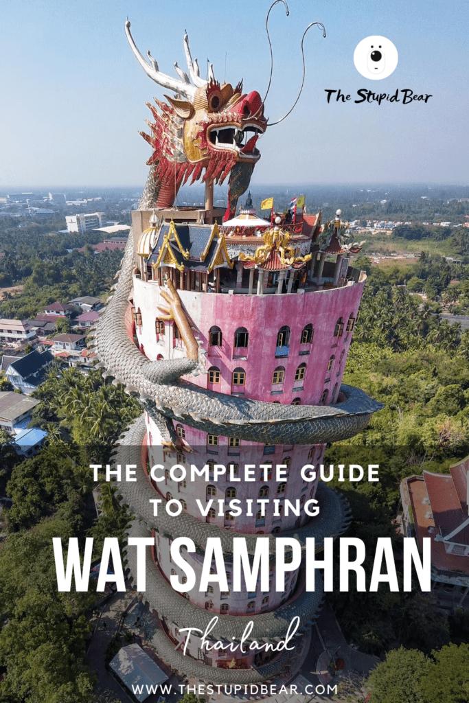Visiting Wat Samphran, the pink building with a dragon, Thailand