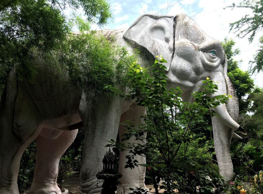 A sculpture of a white elephant