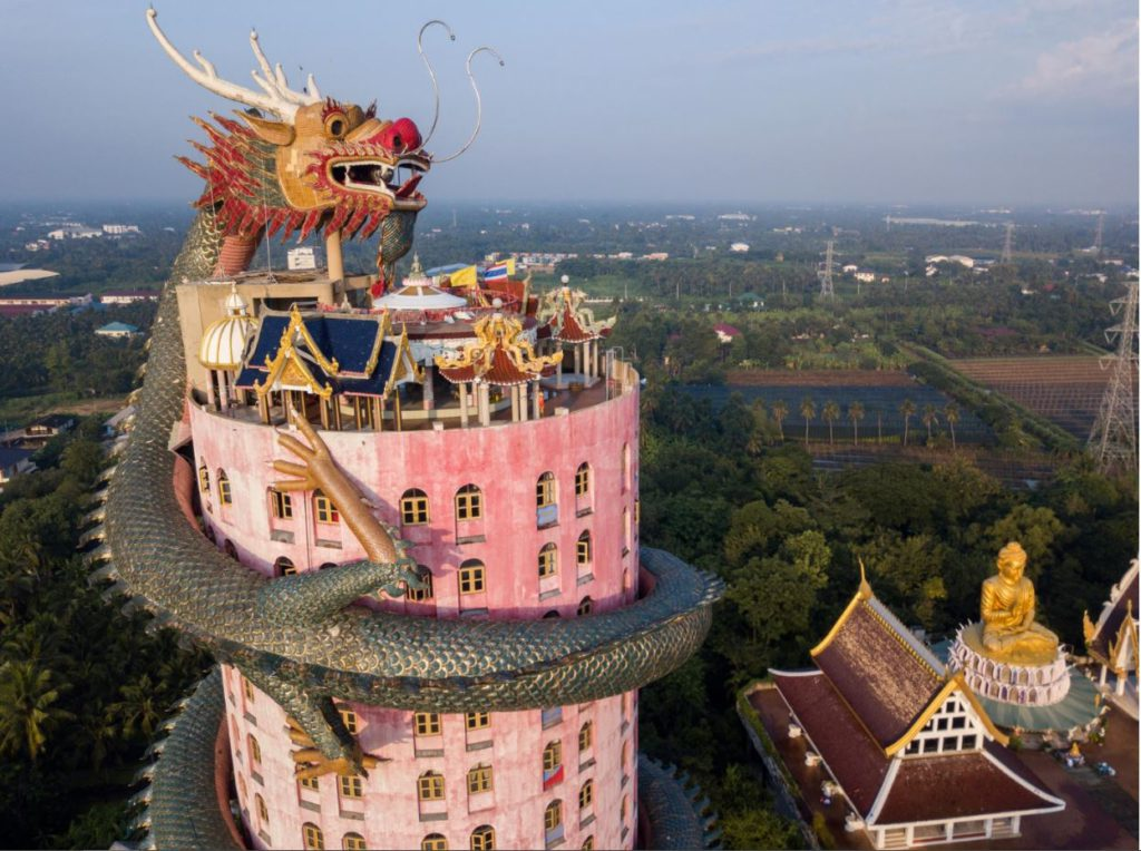 Aerial view of the top of the Dragon Building