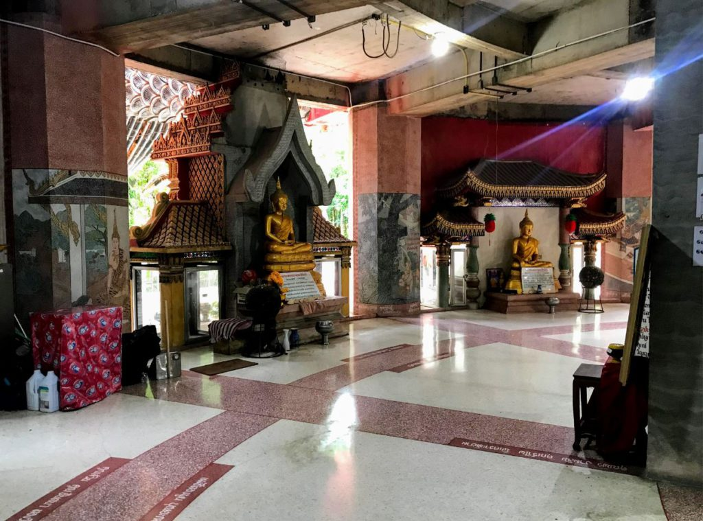 Numerous statues of Buddha as you enter the main building