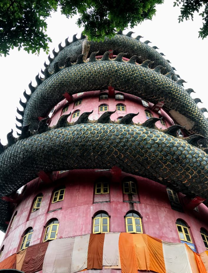 The Dragon building from the footsteps