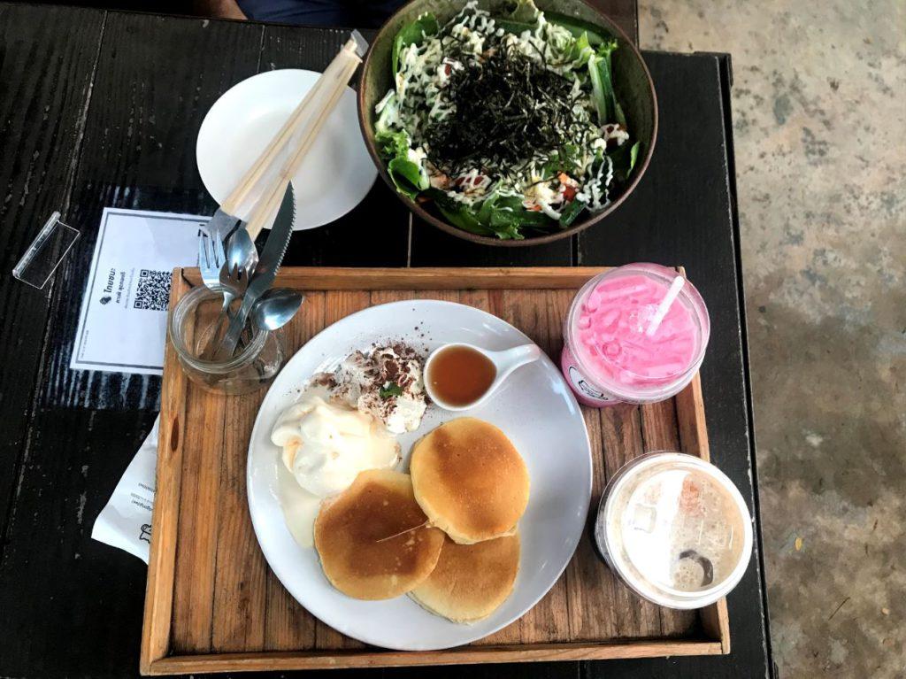 Fresh Pancakes and Japanese Salad at a cafe, Nan