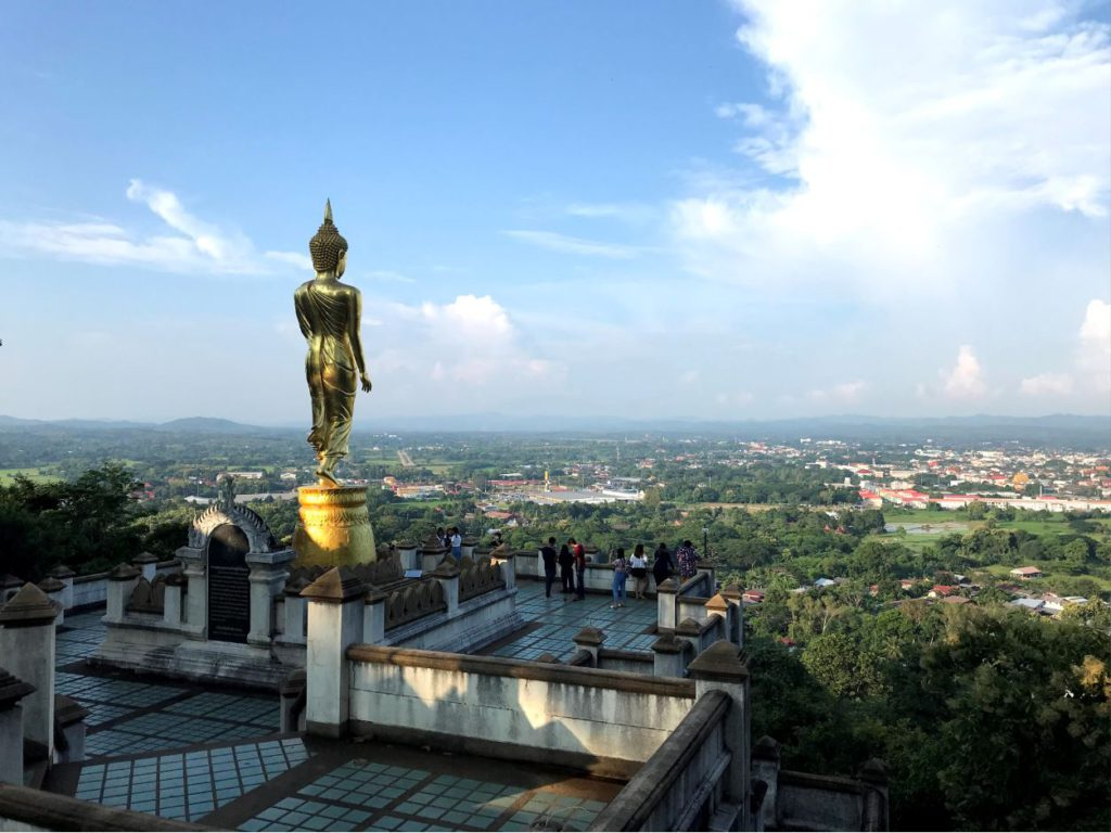 Golden Buddha Statue overlooking the Nan Valley