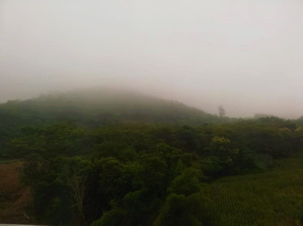 Hills covered in mist during monsoons in Nan
