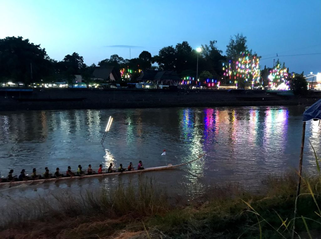 People practising for rowing tournament on Nan River