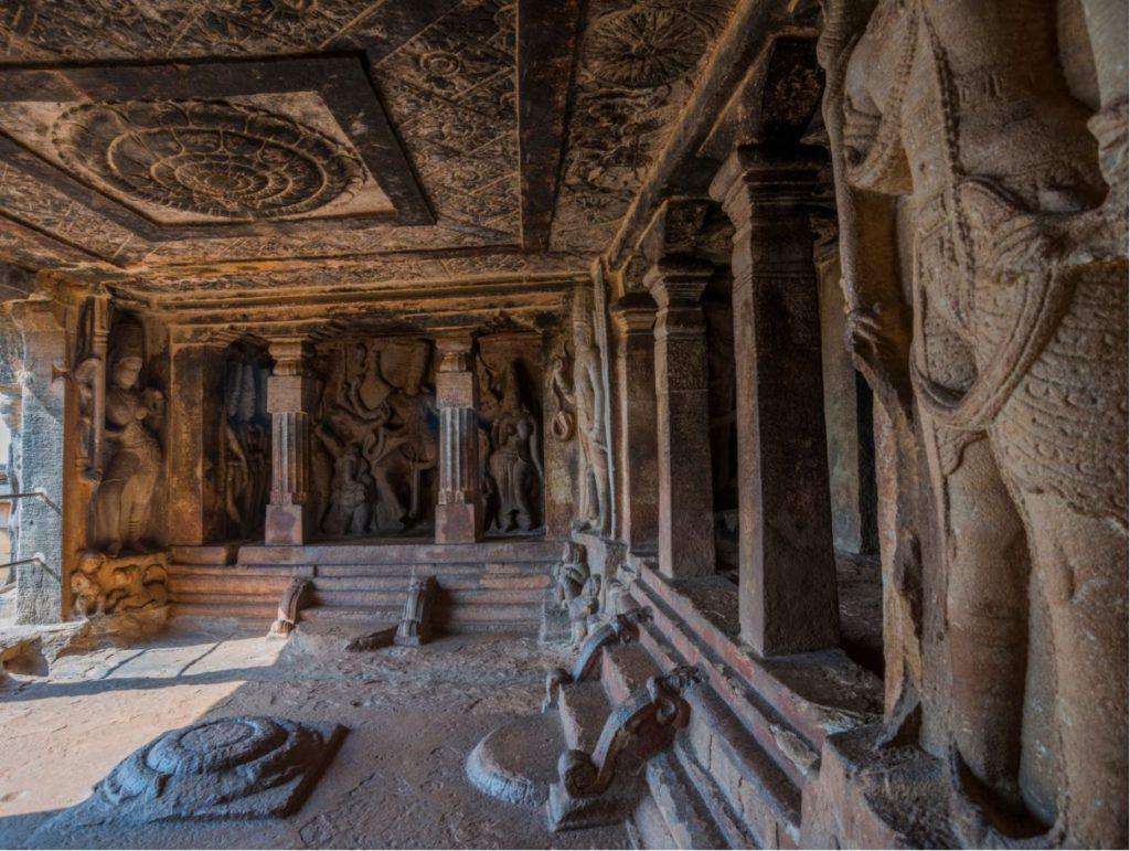 Engravings inside temple in Aihole